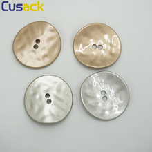 4 pieces Round 3.5 cm 2 Holes Buttons for Coats Windbreaker Costume Decorative Button Metal Silver Grey Gold Sewing High Quality