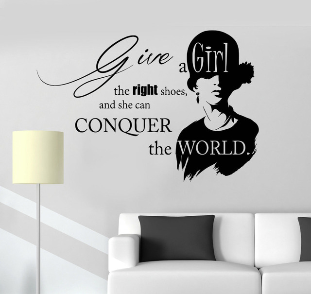 Inspirational Quotes Vinyl Wall Stickers Beauty Fashion Salon Girl Decals Art Fancy Calligraphy Font Home