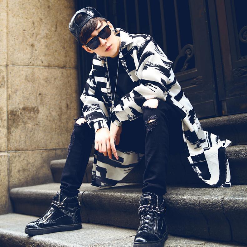 S-XXL! 2018 spring medium-long male print   trench   fashion turn-down collar thin outerwear