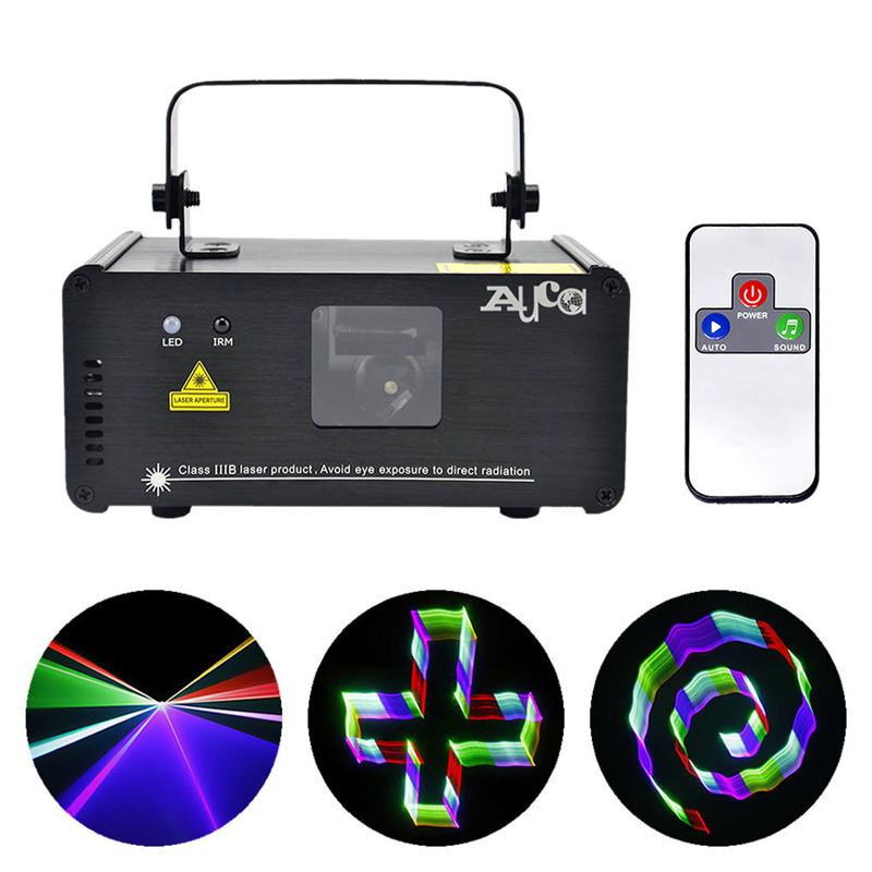 AUCD 3D Effet 8 CH DMX Mini Télécommande IR 400 mw RVB Laser Scanner Lumières DJ Disco Projecteur de Spectacle éclairage de scène TDM-RGB400