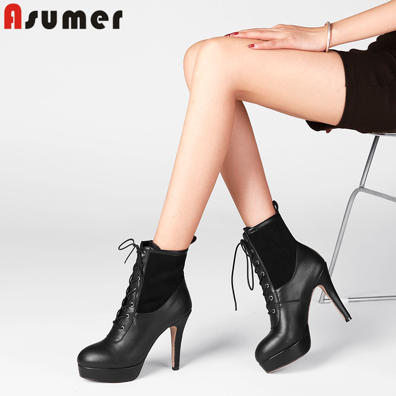 ASUMER 2018 fashion ankle boots for women round toe lace up genuine leather boots high heels autumn winter boots big size 32-43 big size 34 42 high quality genuine leather leisure low heels ankle boots fashion cowhide round toe platform women boots