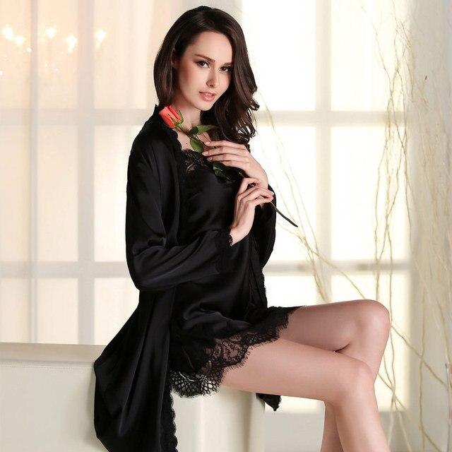 Новый летний шелк сексуальный женский внутренний внешний пижамы ночной рубашке с длинными рукавами женщин платье халат наборы
