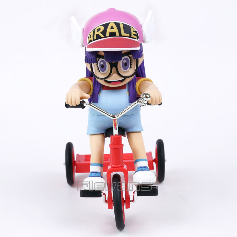 Dessin animé mignon dr marasme Arale avec vélo PVC figurine à collectionner modèle jouet Chirstams et cadeau d'anniversaire pour enfants enfants