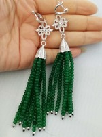 one pair green/pink red stone jades 4*2mm roundel faceted hook earrings 110mm wholesale beads nature FPPJ
