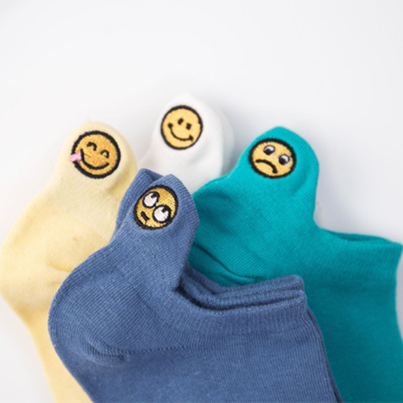 Fashion Smiley Face Cotton Socks Female Kawaii Summer Short Socks Slippers Women Casual Soft Funny Boat Socks