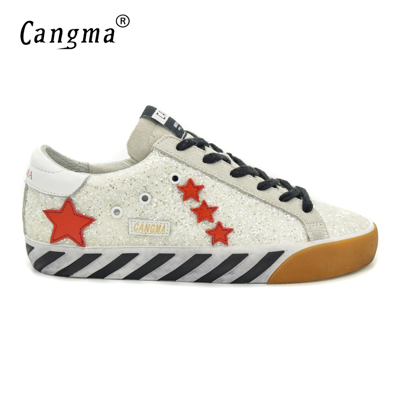 CANGMA Original Italy Deluxe Brand Men Shoes Sequin Genuine Leather Superstar Male Casual Glitter White Shoes Zapato Hombre 2017 cangma original italy deluxe brand men golden shoes women handmade silver genuine leather goose shoes scarpa stella sapato 2017