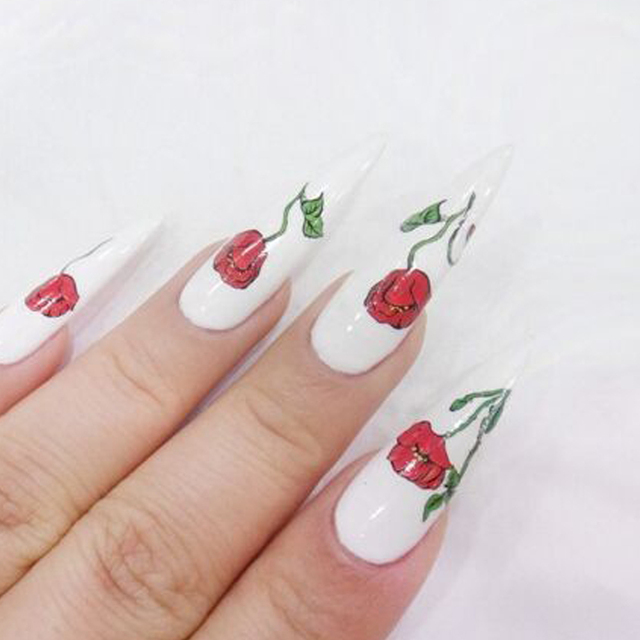 1pcs DIY Red Rose Nail Designs Water Transfer Sticker Decals Nail Art  Decorations Tattoos Tools TRA391 - 1pcs DIY Red Rose Nail Designs Water Transfer Sticker Decals Nail