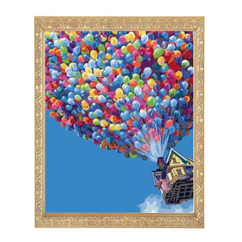 Needlework,DIY DMC 14CT Unprinted Cross stitch,Counted Embroidery Cross-stitch Kit Hot Air Balloon in the air home made Patter