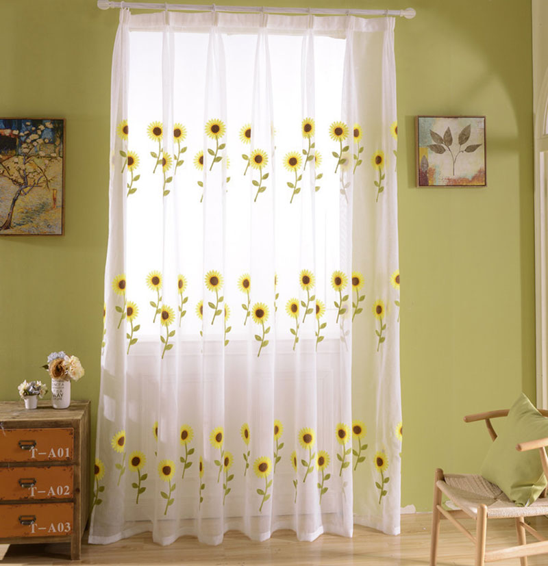 Sheer kids room curtains elegant yellow embroidered - Telas de cortinas leroy merlin ...