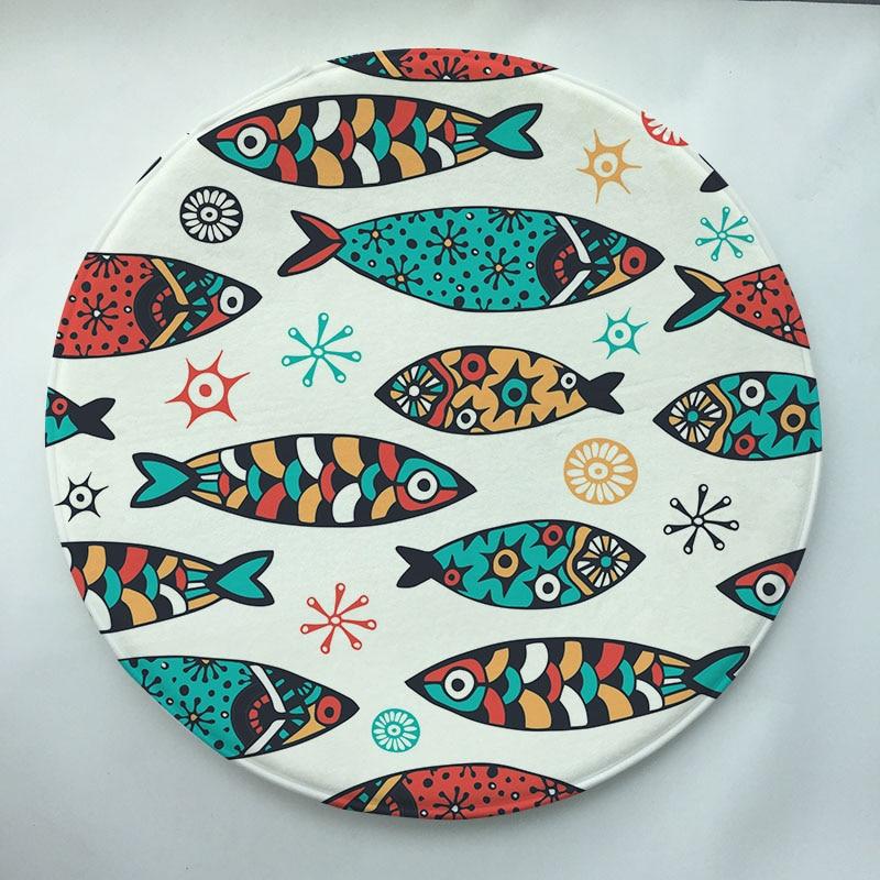 Fish Series Print Custom Round Doormat Non Slip Rug Pad