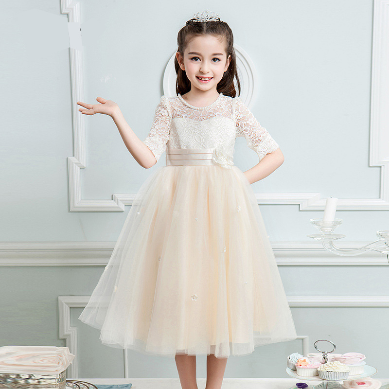 Luxury Long Lace Embroidery Sweet Princess Girls Dress Prom Party Kids Dress For Girls 2017 Flower Girls Dress For Wedding P48 girls embroidery detail contrast lace hem dress