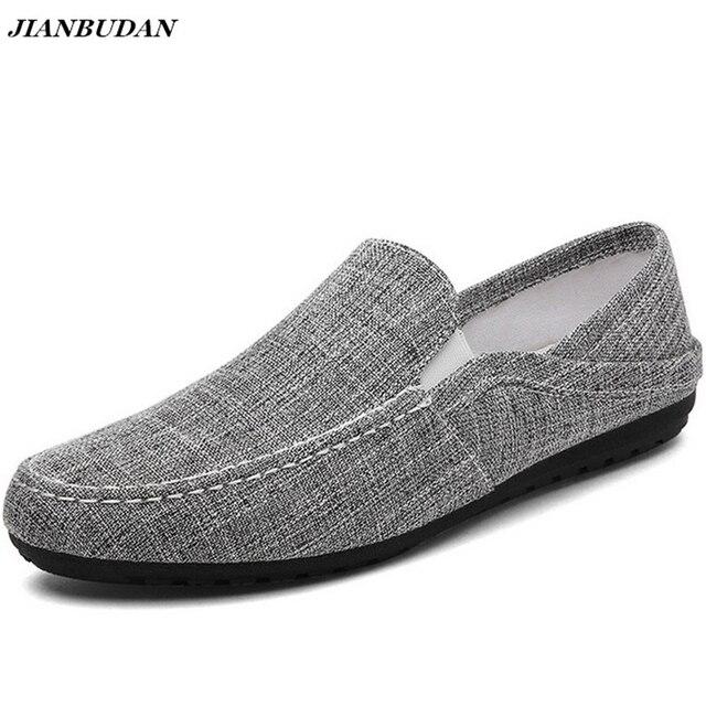 JIANBUDAN Linen thoáng khí nam giày phẳng 2019 mùa hè mới giản dị lái xe giày trọng lượng nhẹ chịu mài mòn trơn lười biếng giày