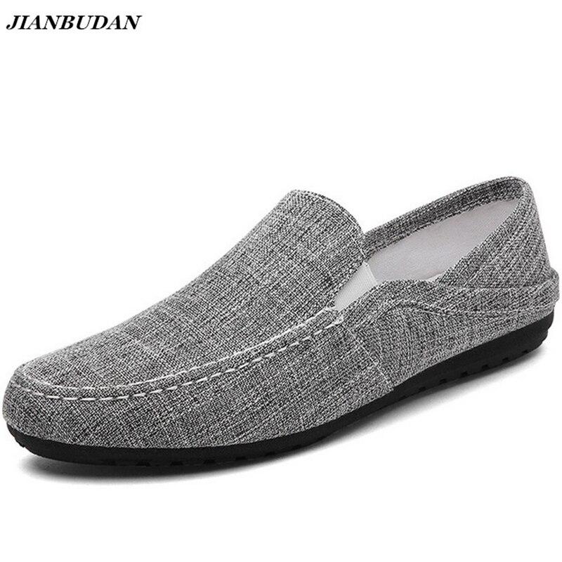 JIANBUDAN de lino respirable Hombre Zapatos planos 2019 verano nuevos zapatos de conducción casuales ligero resistente al desgaste resbaladizo zapatos perezosos zapatos