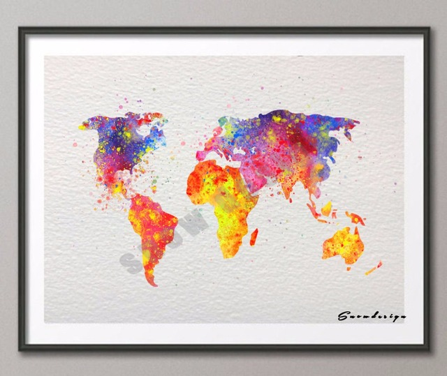 diy original watercolor world map wall art canvas painting poster print pictures living room home decoration