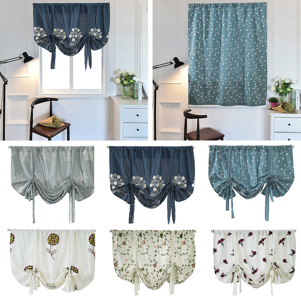 Short Roman Curtain Balloon Shade Floral Embroidery Tie Up Curtains Rod Pocket For Kitchen Window Valance Blackout 27 Curtains Aliexpress