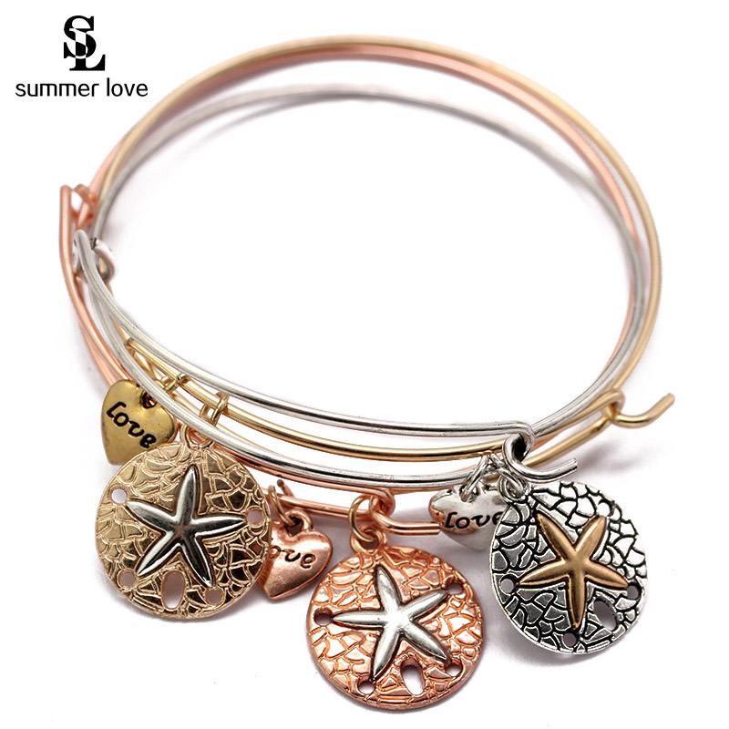Hot Fashion Jewelry Expandable Wire Bracelet Bangle Starfish Hand Love Cuff Charm Bracelets For Women Men Handmade Wholesale