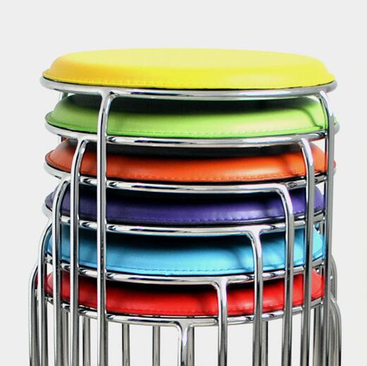 Simple stools stainless steel fine fashion small leather stool small stool home round stool  girl