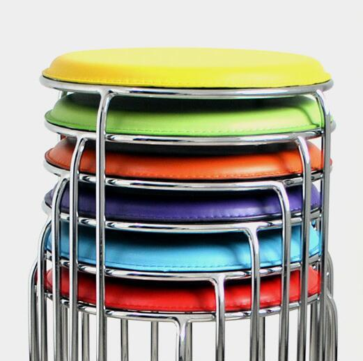 Simple stools stainless steel fine fashion small leather stool small stool home round stool