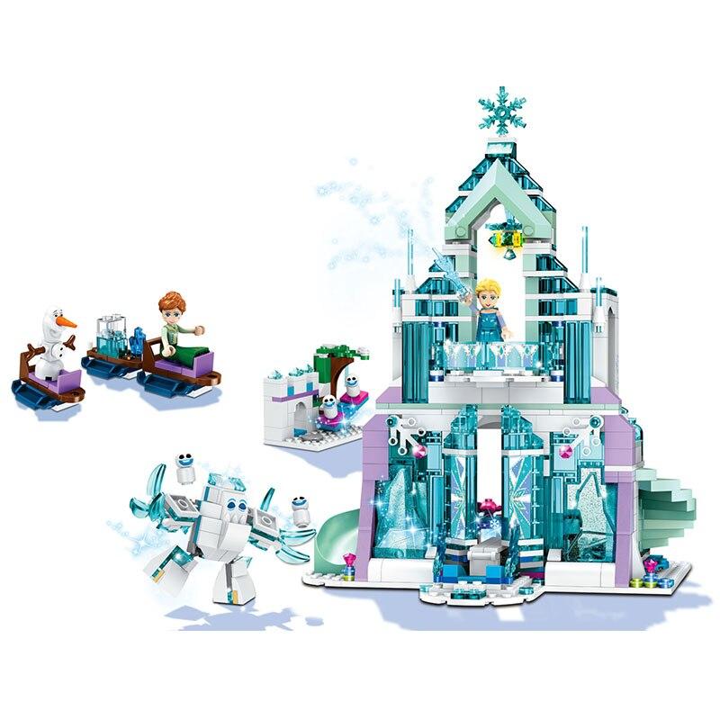 LELE Elsa Ice Castle Model Building Blocks Kit Aisha's Magic Snow Castle Classic Toys Compatible LegoINGlys for Girl 711 Pcs lele 79168 elsa queen lainio snow village bricks toys minifigures building block toys best legoelieds