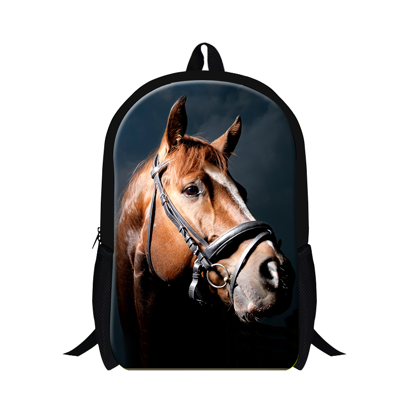 Stylish Brown Horse 3D Backpacks for college students,high class childrens cool back pack lightweight,bookbags for boys mens bag