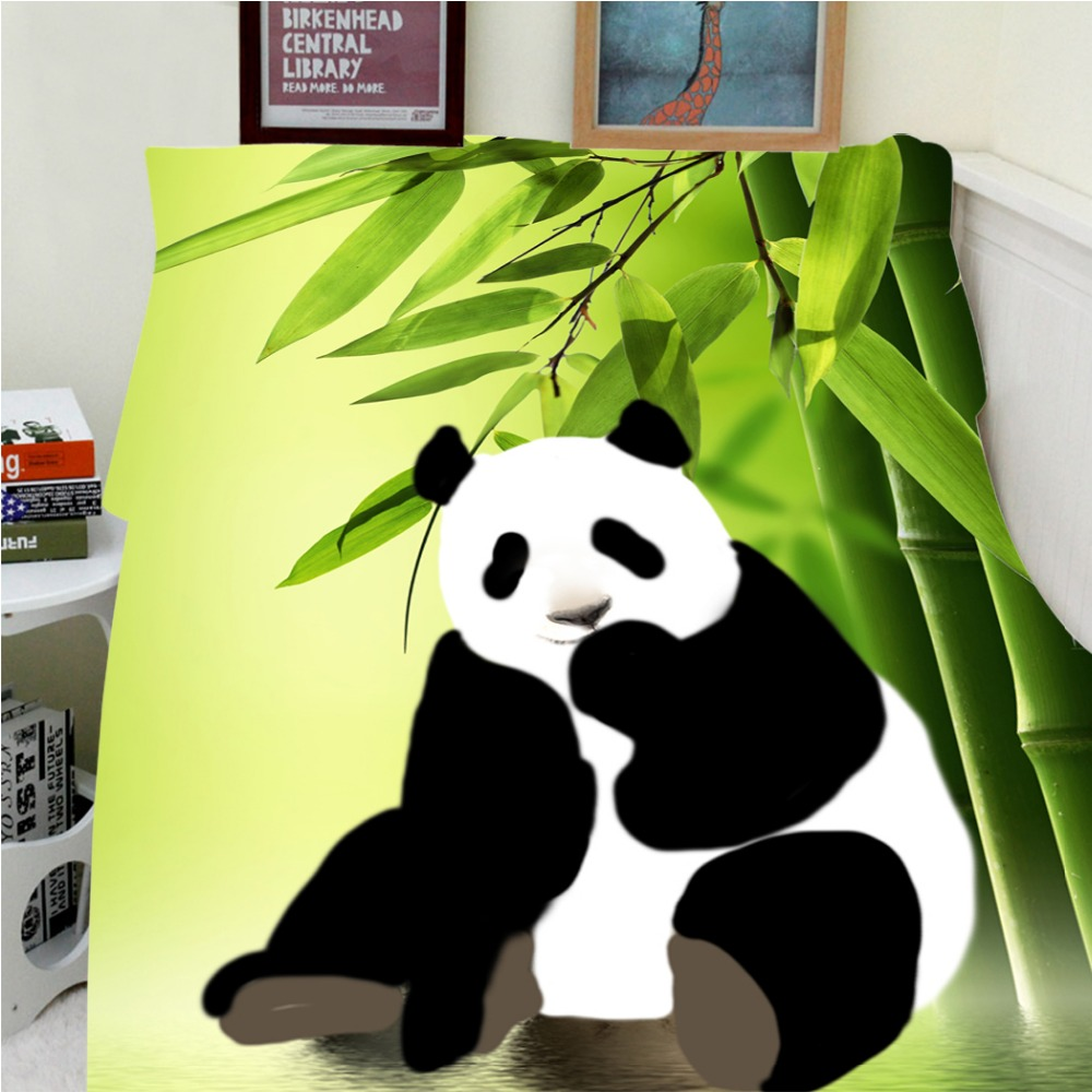 Blankets Warmth Soft Plush Lovely Panda Green Bamboo Black White Animal Sofa Bed Throw a Blanket Thick Thin Cobertor Plaid