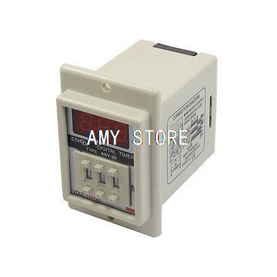 ASY-3D AC 220V 99.9 Minute Digital Timer Programmable Time Delay Relay White ac 220v power on delay timer relay and socket asy 3d 99s relays