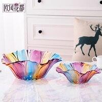 Conjunto de prato de frutas de cristal  estilo europeu de vidro grande prato lanche  bandeja de doces de frutas secas  simples moderna sala de estar