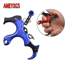 Archery 3 Finger Release Compound Bow Shooting Caliper Aids Left/Right Hand Adjustable Metal Grip Trigger