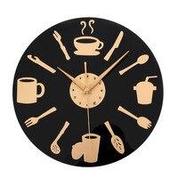 12 cal Kreatywna Kuchnia Zegar Ścienny Nóż i Widelec Łyżka Zegarek Kwarcowy ścienne Akrylowe Kuchnia Pokój Dzienny Zegar Ścienny Boże Narodzenie prezent