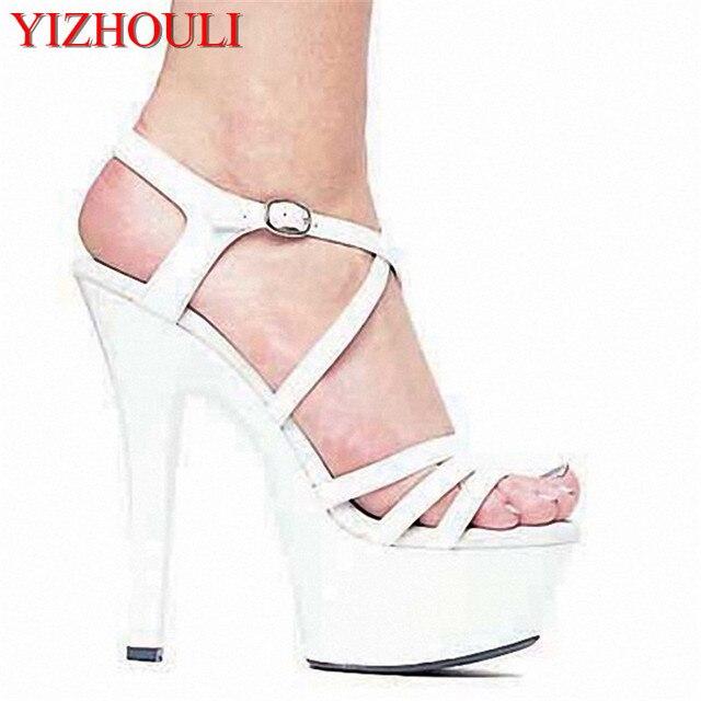 Cm Sandali Alto Da 15 Col Scarpe Tacco Ultrafine Bianco Sposa O0wPnk