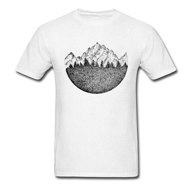 23636a98ecb5 Coming Unique Chalk Drawing Mountains Black White Men's T-shirts Short  Sleeve Cotton T Shirt Vintage Chic Art Designer