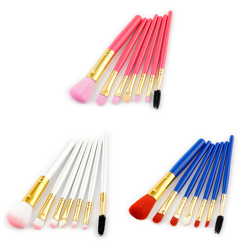 Professional 7 Pcs Eyeshadow Makeup Brushes Set blue pink Eye Shadow Make Up Brushes Soft Synthetic Hair For Beauty