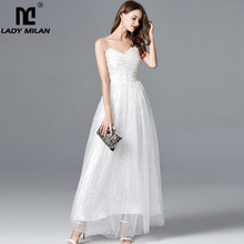 Lady Milan Womens Sexy Spaghetti Straps Sequined Ruched Bodice Fashion Party Dresses Long Elegant Runway