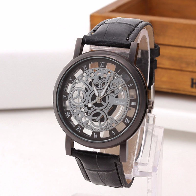Skeleton Watch Engraving Hollow with Black Leather Band