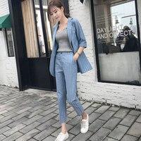 Women's suit female 2018 spring and autumn new temperament Slim fashion Plaid stripes office ladies OL two / piece suit