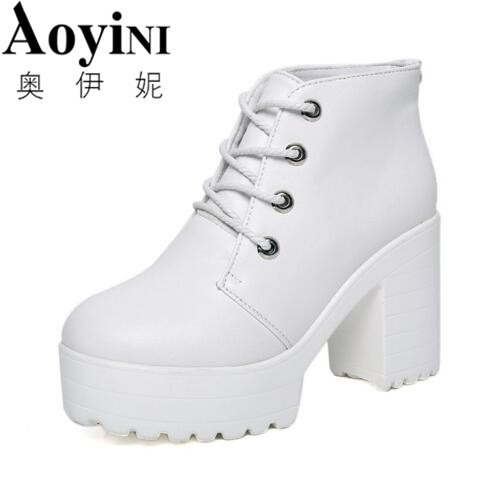 2018 Spring Autumn Fashion Women Platform Heels Ankle Boots Thick Heel Platform Shoes Combat Boots Women Shoes Free Shipping ...