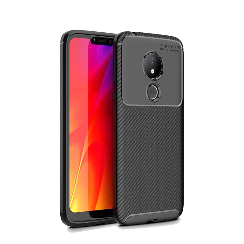 1Pcs Luxury Mobile Phone Cases for Motorola MOTO G7power Silicone Drop Protection Gel carbon fiber Soft Shell in Half wrapped Cases from Cellphones Telecommunications