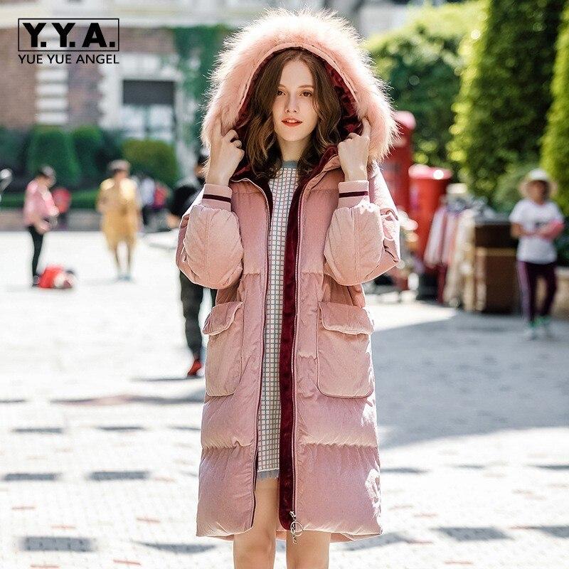 Pink Fur Collar Hooded Corduroy Women White Duck   Down     Coats   Elegant Luxury Fashion Female Long Jackets Warm Winter Clothes 2019