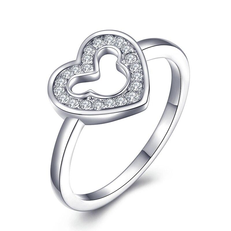 Модное Сверкающее циркониевое серебряное кольцо для женщин, цветочное сердце, корона, кольца на палец, фирменное кольцо, ювелирное изделие, Прямая поставка - Цвет основного камня: 14