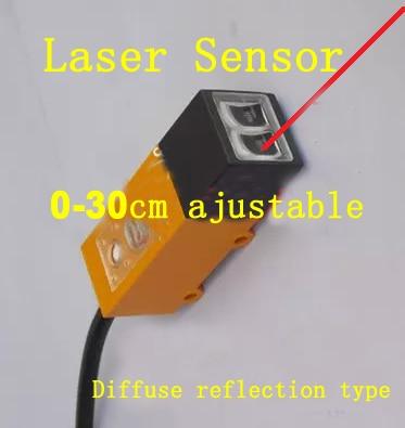 Livraison gratuite 2 pc carré Laser commutateur photoélectrique DC10V-30V laser capteur NPN gamme 30 cm ajustable réflexion diffuse type