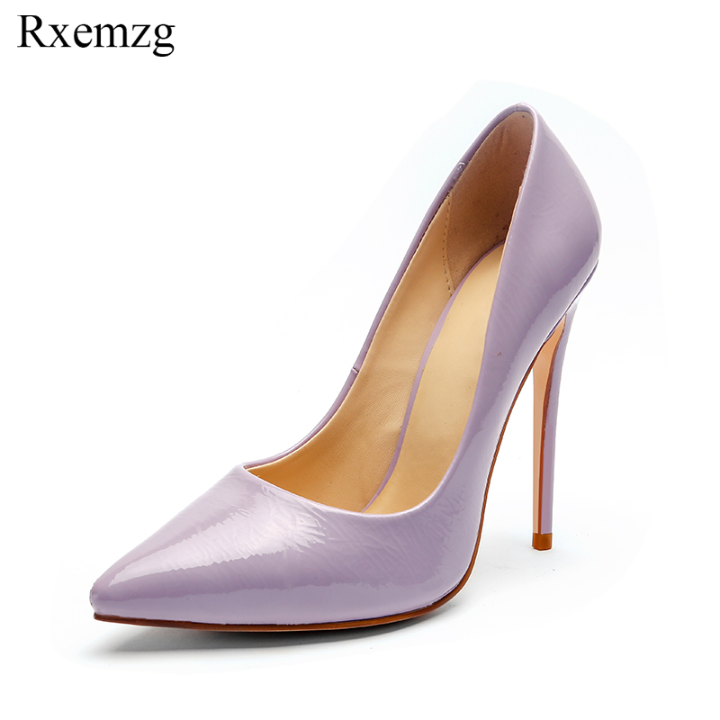 Rxemzg new patent leather ladies purple shoes pointed toe wedding shoes women pumps fashion high heels size 34 43 zapatos mujer