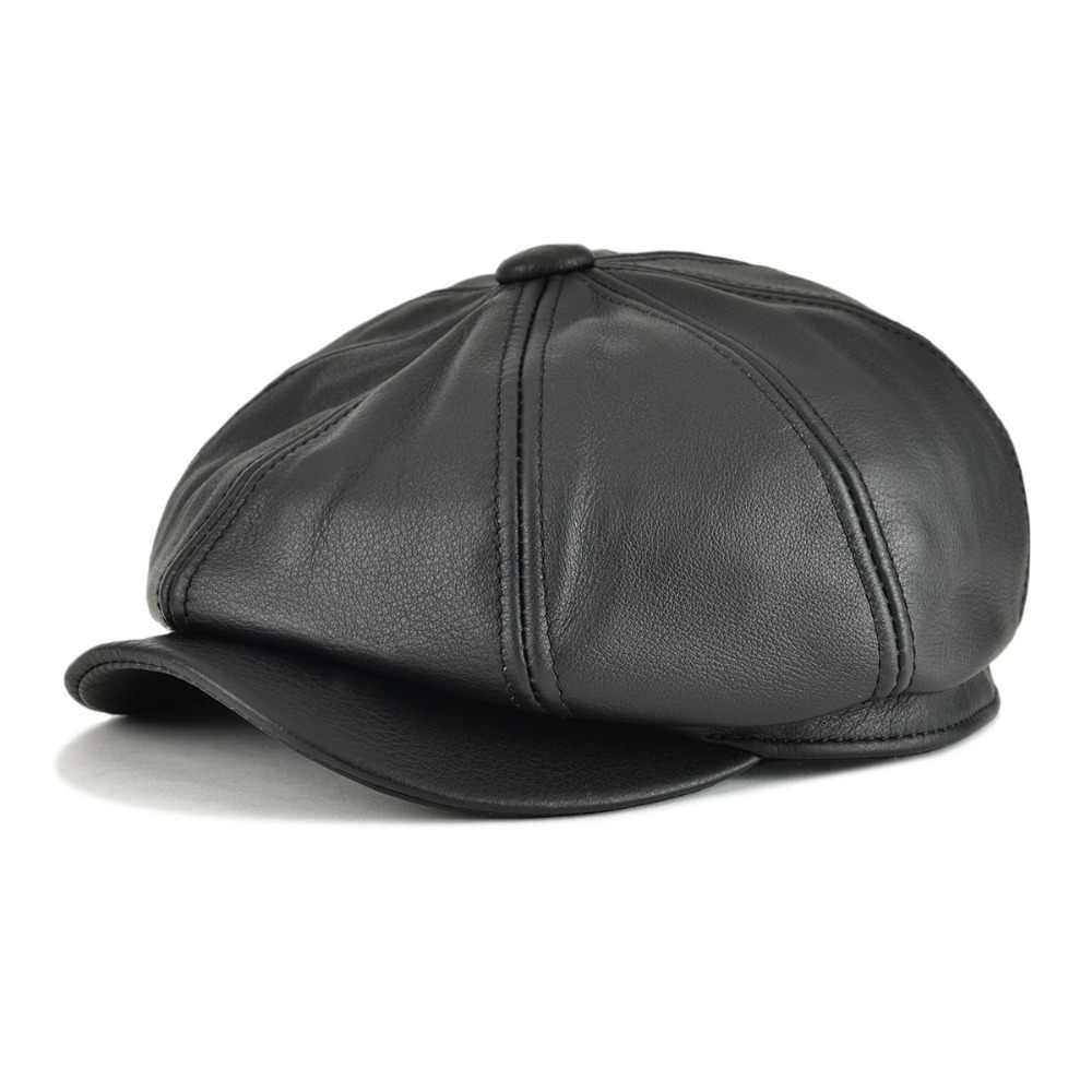 cd59836c VOBOOM Genuine Leather Men Women Solid Color 8 Panel Design Gatsby Flat Cap  Classic Newsboy Boina