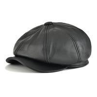 VOBOOM Genuine Leather Men Women Solid Color 8 Panel Design Gatsby Flat Cap Classic Newsboy Boina Beret Hat in Brown Black 115