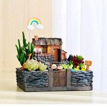 Home Resin Sign Board Bonsai Figurines Micro Landscape Crafts Signboard Mini Fairy Garden Moss Decor