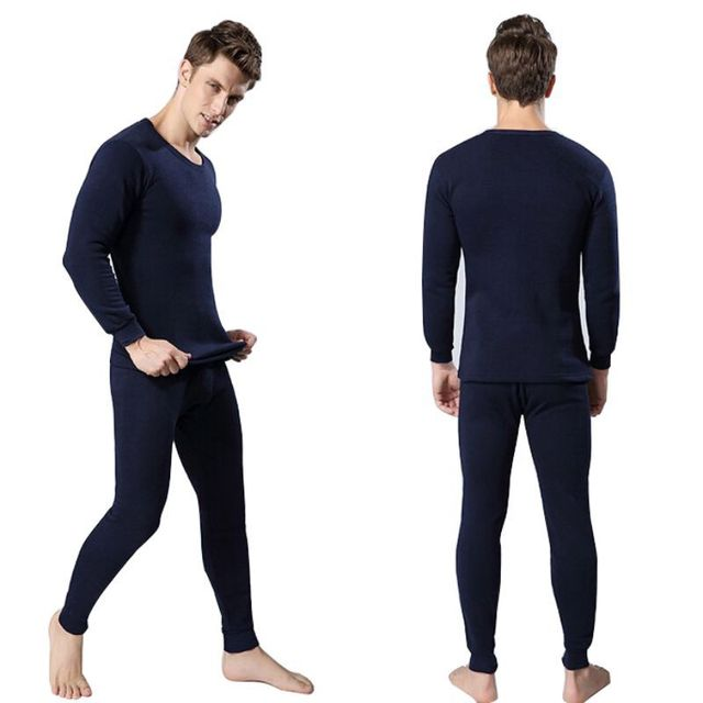 2 unids hombres de algodón conjunto de ropa interior térmica de invierno cálido espesar Long Johns Tops Bottom