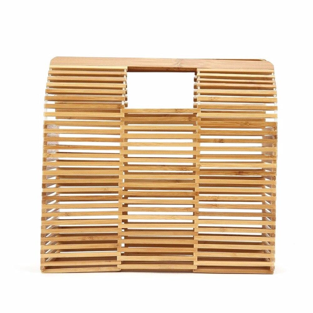 2018 Vintage Square Bamboo Woven Handbag Straw Bag Hollow Out Handbag Luxury Handbags Summer Beach Bag Shopping Bag