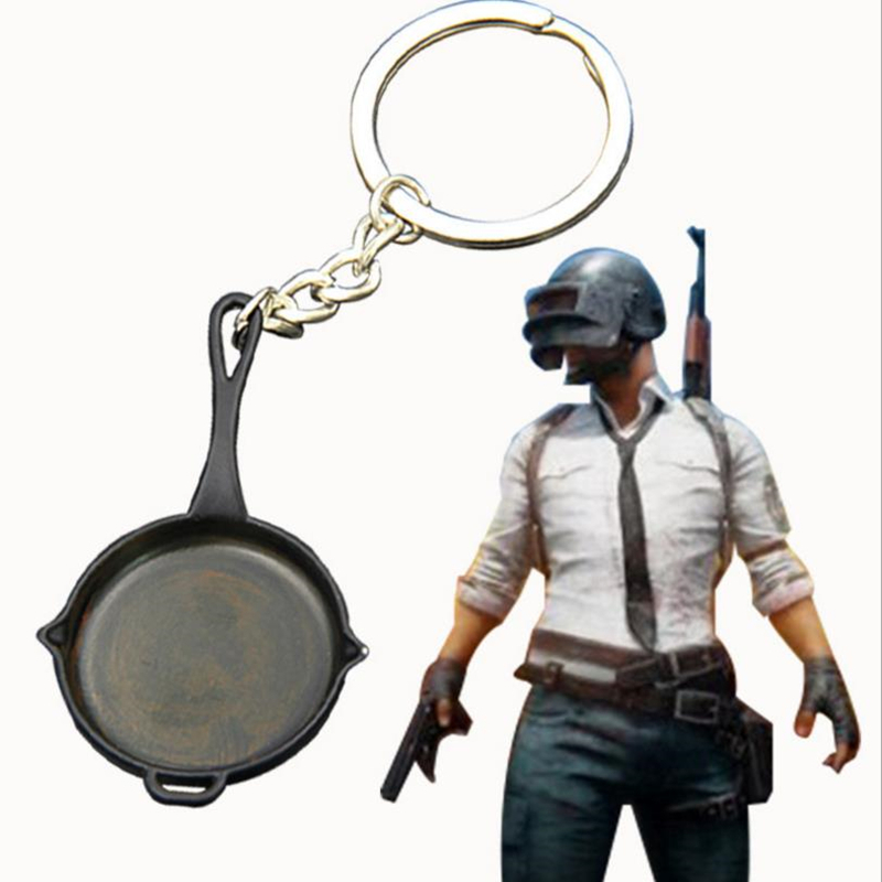 Game PUBG Playerunknown's Battlegrounds Cosplay 100% Original Pan Weapons Rusting Model Key Chain Keychain