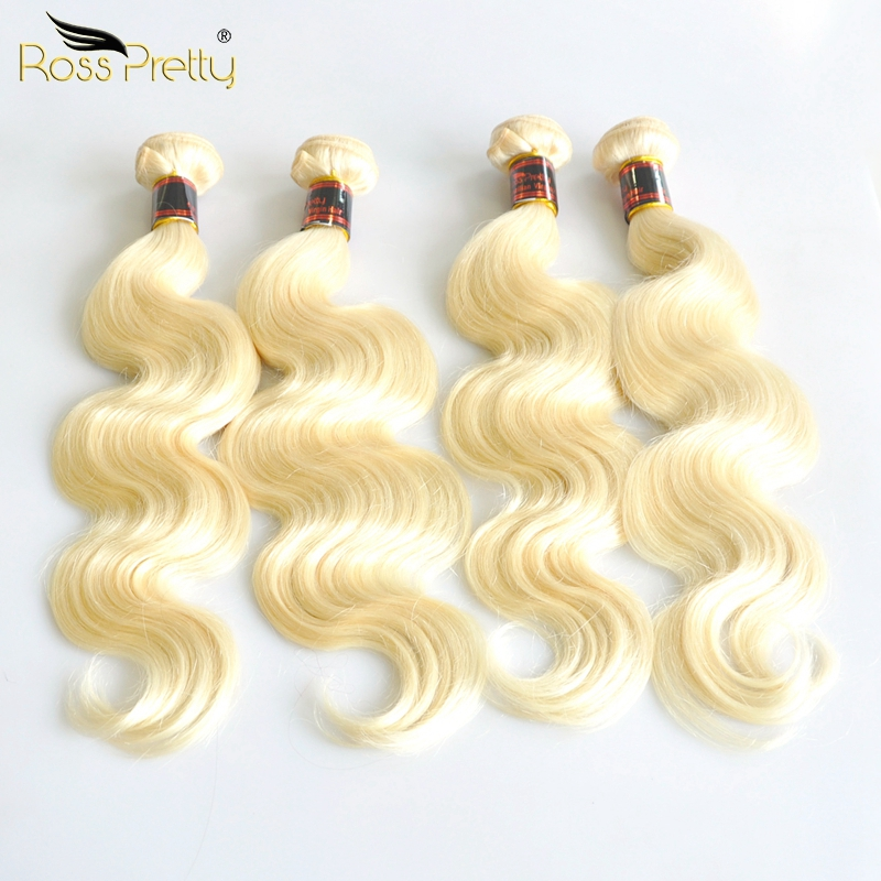 Ross Pretty Hair Color Blonde Brazilian Body Wave Hair Extension Bundles Remy Human Hair Weaving 1/3/4 Bundles Color #613