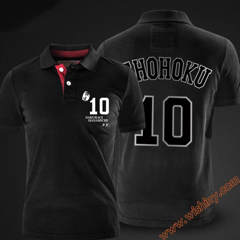 Slam Dunk Hanamichi Sakuragi Polo Shirts Men Short Sleeve Tops Summer Black Red Grey Polos