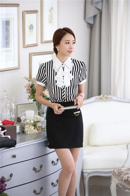 4e36eb874 Moda Rayas de Colores de Manga Corta Estilo Uniforme Trajes de Oficina Para  Damas Oficina Blusa